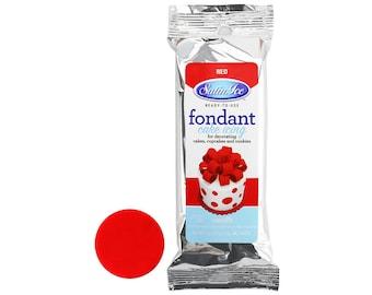 Red Satin Ice Fondant 4 oz - bright red fondant