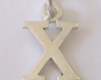 Genuine SOLID 925 STERLING SILVER 3D Initial X Letter Pendant