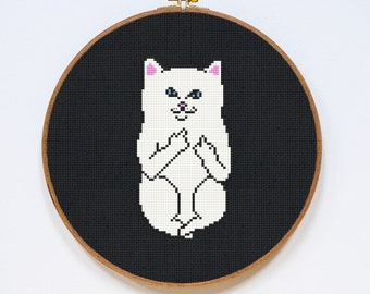 Cat Cross Stitch Pattern, Modern Cross Stitch Chart, Pdf Format, Instant Download