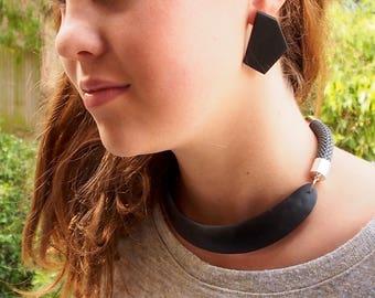 Handmade resin earrings -large geometric original design opaque black