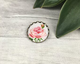 Pink rose brooch, pink rose pin, flower brooch, rose brooches, christmas gift for her, gift for wife, stocking stuffer gift, english rose,