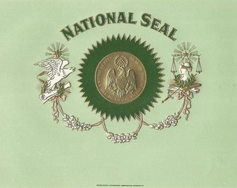 National Seal Vintage Embossed Cigar Label, 1920s