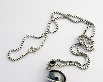 SaLe! sALe! Sterling Hematite Pendant Necklace Swirly Design