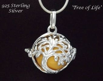 Harmony Ball Sterling Silver Tree of Life Design with Yellow Chime Ball | Gifts for Women, Bola Necklace, Pregnancy Gift, Angel Caller 877