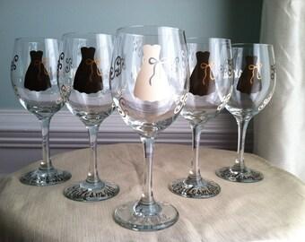 7 Personalized Bride and Bridesmaid Wine Glasses