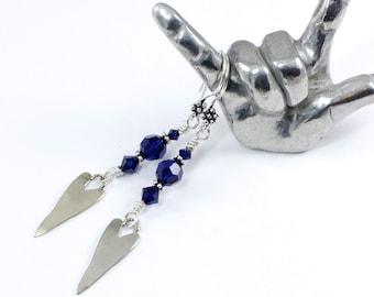 Silver Heart Earrings, Dark Blue Earrings, Blue Heart Earrings, Indigo Earrings, Heart Dangle Earrings, Solana Kai Designs, Portland Oregon