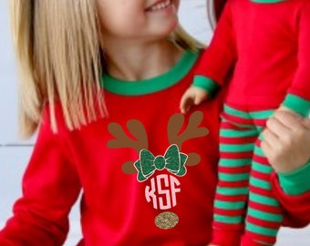 Reindeer Family Children's  adult matching christmas xmas pajamas pjs set red and green stripe toddler youth kids