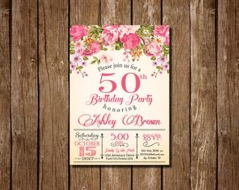 Floral birthday invitation Etsy