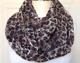 Wide Infinity Scarf - Floral Leopard Lace