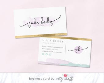Business card design etsy business card business card template business card design watercolor business card feminine cheaphphosting Image collections