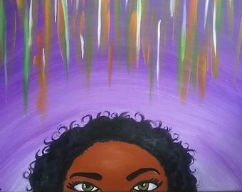 Natural hair art, African American art, black woman wall decor, black girl art, modern african wall art, black girl magic, colorful painting