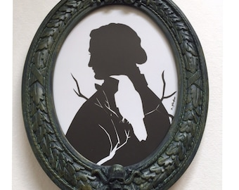 Edgar Allan Poe the Raven Silhouette in REAL Haunted Mansion Theme Park Frame