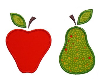 """Apples and Pears Appliques Machine Embroidery Designs Applique Patterns in 4 sizes 3"""", 4"""", 5"""" and 6"""""""