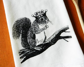 Kitchen Towels, Squirrel Wearing a Crown, Screen Printed Flour Sack Towel, Hand Printed Tea Towel, Kitchen Towel, Woodland, Farmhouse