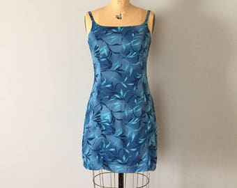 90s leaf print mini dress   blue shades mini dress