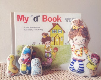 My D Book-Handmade Embroidered Matching Doll/Book Set-Vintage Children's Book