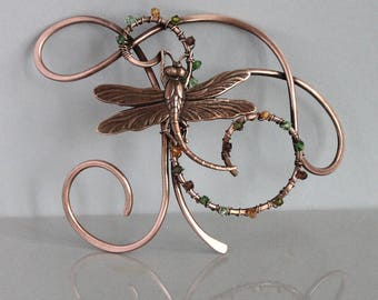 Dragonfly Hair Clip with Crystals, Copper Hair Pin, Unique Hair Barrette, Copper Jewelry, Hair Accessories for Women Gift