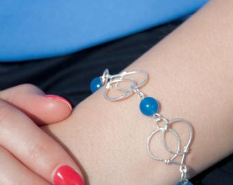 Bracelet with blue jade beads - handmade silver plated - delicate and feminine - collection gift for her - color choice