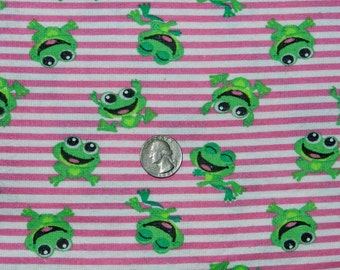 Diaper Flannel Happy Frogs - Fabric By The Half Yard 18 inches x 44 inches  - H