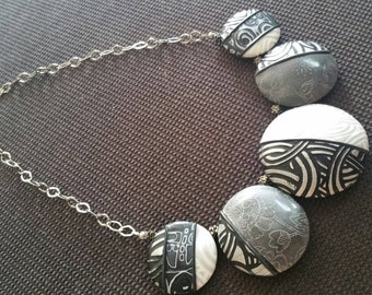 Polymer clay and 925 Silver chain necklace