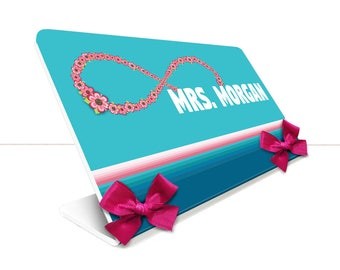 personalized teacher desk name plate class infinity symbol and flowers decor table sign - SEC18