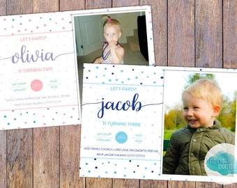 Personalised Childrens Birthday Invitations with Envelopes
