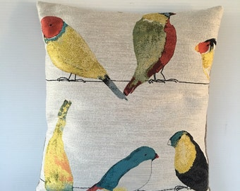 Designer Pillow COVER, Modern pillow cover, Lovebird Decorative Deluxe Birds pattern pillow cover