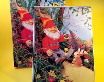 Vintage Puzzle - Gnome Jigsaw Puzzle - 1970s - 12 Piece Puzzle - Made In Holland