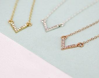 Gold crystal chevron necklace - Layering necklace -Sterling Silver, Gold-filled, Rose Gold filled - V chevron bar necklace - crystal bar