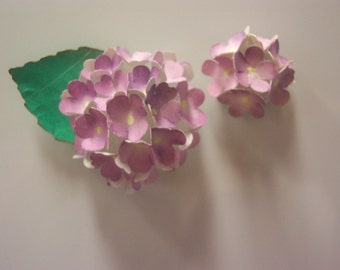 Two Paper Hydrangea Refrigerator Magnets