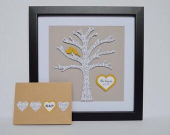 Paper Anniversary Gift- Lyric Tree, Song Lyric Art, Wedding Vow Keepsake, Personalized Wedding Gift, Unique Engagement Gift