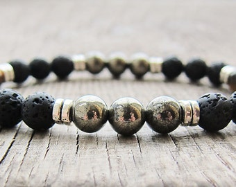Mens Bracelet Pyrite bracelet Bead Bracelet Protection Bracelet Gemstone bracelet Gifts for men Gift for husband Mens gifts for boyfriend