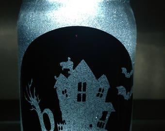 Glittered, Illuminated Haunted  - Mason Jar