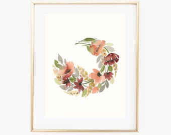 Earthy Floral Ring - 11x14 Original Watercolor