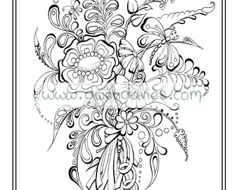 Wedding favour, PDF download, bespoke personalised colouring activity henna flowers. holiday art therapy table