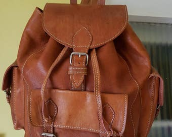 Moroccan camel leather rucksack