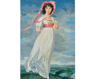 """Large 18""""X 28"""" Mid Century Paint-by-Number of Sir Thomas Lawrence's """"Pinkie"""" with Original Box"""