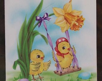 Vintage 1950s 1955 Embossed Easter Card  Scrapbooking Creative Crafting
