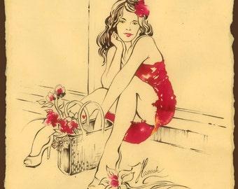 flower girl beautiful sitting woman red dress wicker basket summer street expectance dream fine erotic art sensual sensitive ink drawing