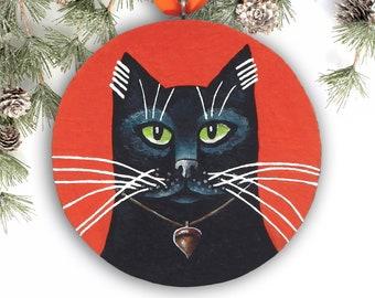 Black Cat Ornament, Halloween Ornament, Handmade Christmas Ornament, Black Cat Art Christmas Gift, Cat Lover Gift
