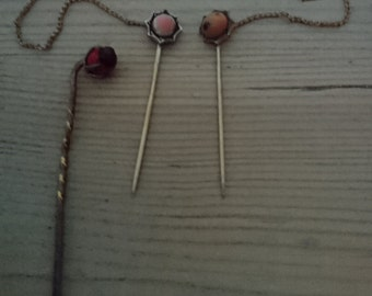 Vintage double cravat pins and one stick pin