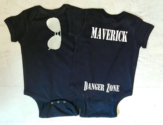 Aviator Sunglasses in Silver Metallic baby bodysuit THE ORIGINAL with Maverick Danger Zone on the Bum pictured in Navy