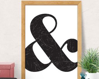 Ampersand print, Typography print, Scandinavian print, modern print, modern wall decor, ampersand poster, typography poster, minimal print