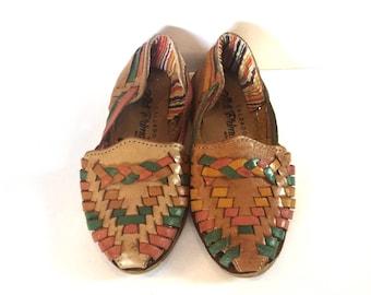 Vintage kids sandals/Kids leather Huaraches/vintage leather sandals