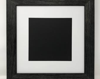 """16x16 Square 1.75"""" Rustic Black Solid Wood Picture Frame with White Mat Cut for 12x12 Square Picture"""