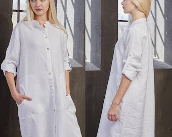Shirt dress, Linen dress, Linen tunic, Summer dress, Linen shirt, White linen shirt dress, Plus size linen, Linen dresses for women, Linen