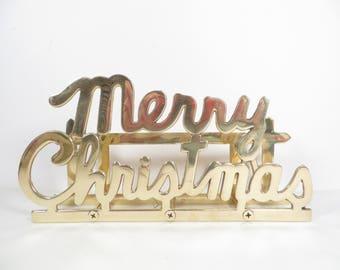 Vintage Brass Merry Christmas Letter Holder - Brass Christmas Card Rack
