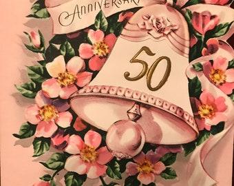 Vintage 50th Wedding Anniversary Card