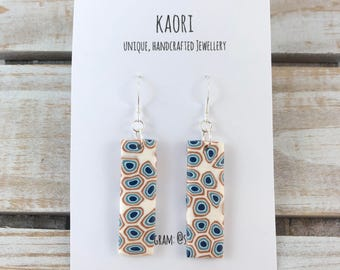 Polymer clay earrings with sterling silver earring hooks- blue, copper and white spots and dots
