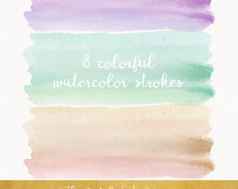 Watercolor Brush Stroke Clipart - Gradient Colors - INSTANT DOWNLOAD - 8 .PNG Images